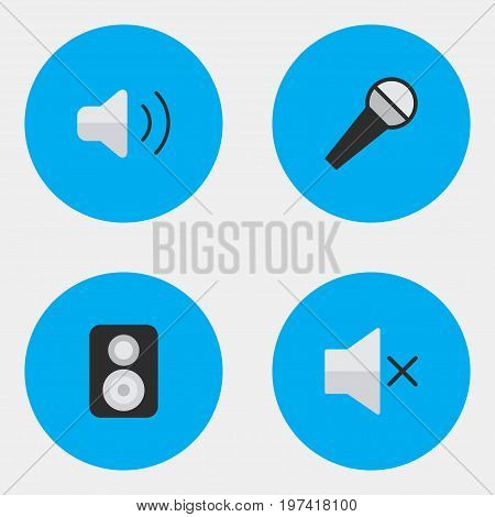 Elements Speaker, Loudness, Mike And Other Synonyms Loudspeaker, Speaker And Sound.  Vector Illustration Set Of Simple  Icons.