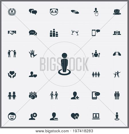 Elements Charity, Companion, Add Friend And Other Synonyms Group, Merry And Conference.  Vector Illustration Set Of Simple Mates Icons.