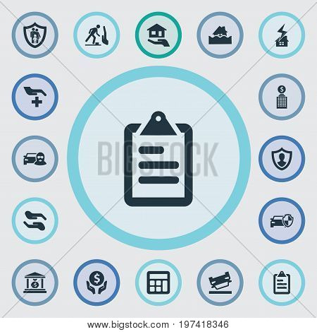 Elements Protect Yourself, Maintenance, Accounting And Other Synonyms Protection, Office And Lightning.  Vector Illustration Set Of Simple Insurance Icons.