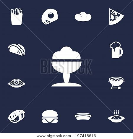 Collection Of Sorbet, Eggs, Sausage And Other Elements.  Set Of 13 Dish Icons Set.