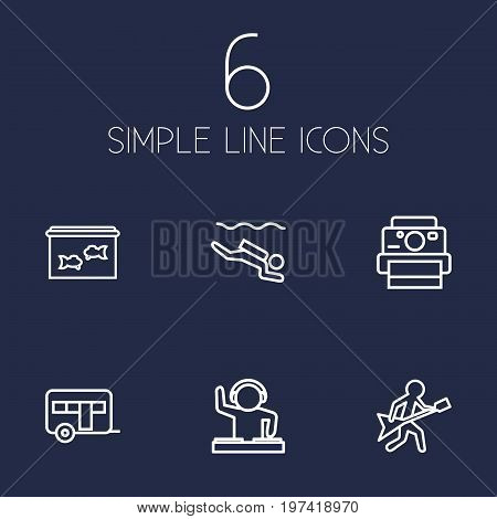 Collection Of Photography, Camping, Aquarium And Other Elements.  Set Of 6 Hobbie Outline Icons Set.