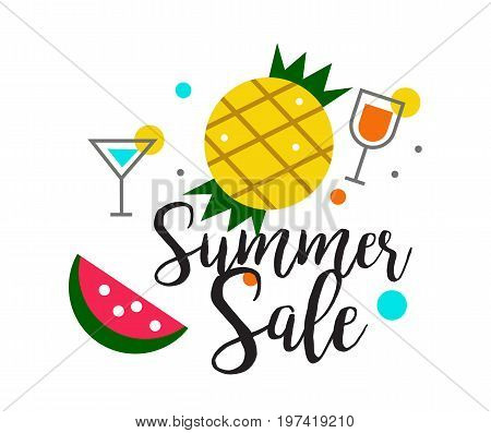 Summer Sale heading design for banner or poster. Sale and discounts. flat character design. vector illustration