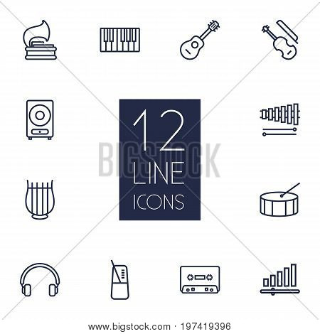 Collection Of Acoustic, Audio Level, Headphones And Other Elements.  Set Of 12 Music Outline Icons Set.