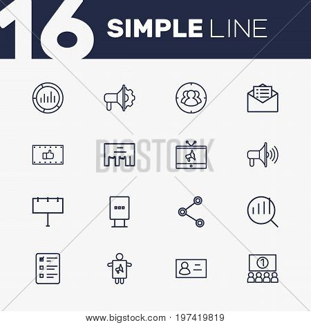 Collection Of Ad Banner, Social Media Ads, Target And Other Elements.  Set Of 16 Commercial Outline Icons Set.
