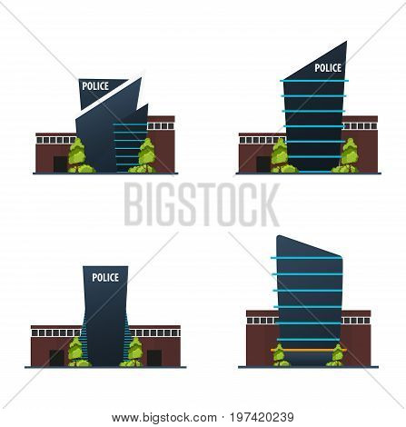 Set Of City Police Station Department Modern Building In Flat Style Isolated On White Background.