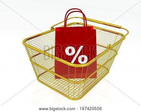 Shopping bag in gold basket white background 3D illustration.