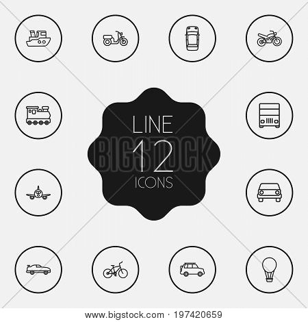 Collection Of Train, Front View, Airplane And Other Elements.  Set Of 12 Transport Outline Icons Set.