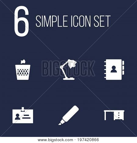 Collection Of Urn, Book, Illuminator And Other Elements.  Set Of 6 Bureau Icons Set.