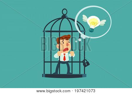 Businessman locked in cage thought of flying idea bulb. Freedom concept.