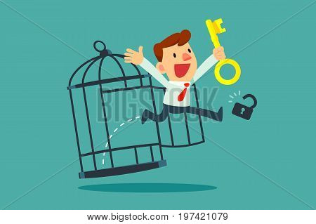 Businessman with golden key free himself from cage. Freedom concept.