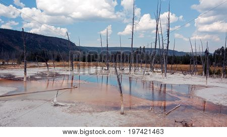 Opalescent Pool Hot Spring In The Black Sand Geyser Basin In Yellowstone National Park In Wyoming Us