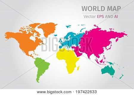 Vector Political World map using different colors on each continent