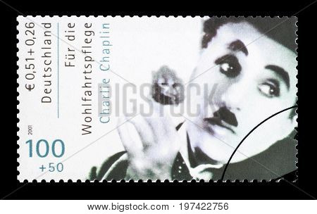 GERMANY - CIRCA 2001 : Cancelled postage stamp printed by Germany, that shows Charlie Chaplin.