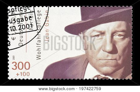 GERMANY - CIRCA 2001 : Cancelled postage stamp printed by Germany, that shows Jean Gabin.