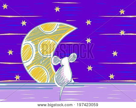 Animal mouse cartoon theme elements. Starlight Night. Animal mouse cartoon theme elements. Starlight Night. vector illustration