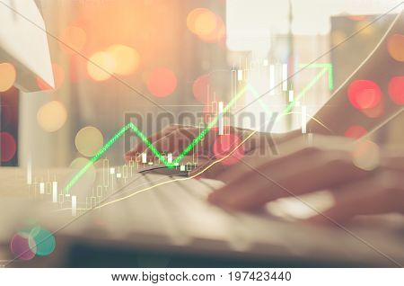 Business Economic And Technology Working Concept. Woman Hand Using Mouse Pc Double Exposure Graph Mo