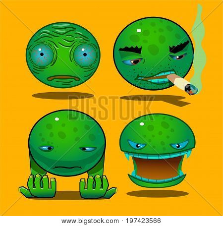 Four faces with different emotions. The first face depicts shock or fright. The second person with cigarette. The third character shows doom, and looks at the hands. The fourth person is a vampire.