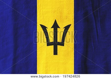 Barbados Fabric Flag  National Flag From Fabric For Graphic Design.