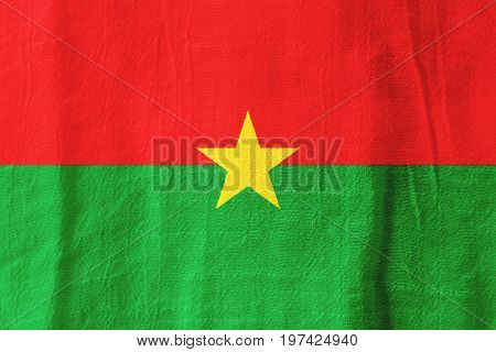 Burkina Faso Fabric Flag  National Flag From Fabric For Graphic Design.