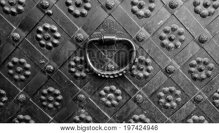 Decorative ornament forged gate elements, closeup forged gate or fence