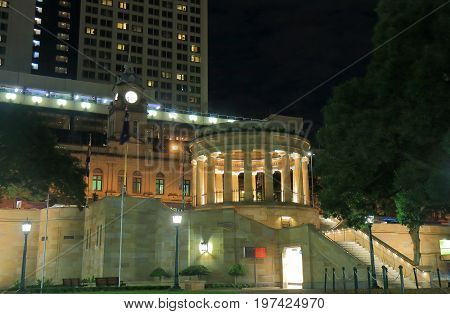 BRISBANE AUSTRALIA - JULY 9, 2017: Anzac war memorial night cityscape Brisbane.