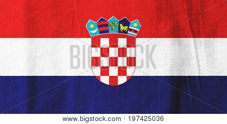 Croatia Fabric Flag  National Flag From Fabric For Graphic Design.