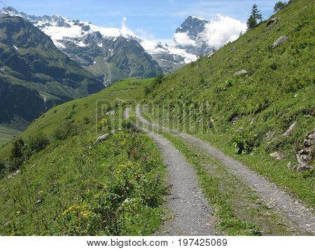 Footpath towards snow capped mountains near Engelberg, Switzerland