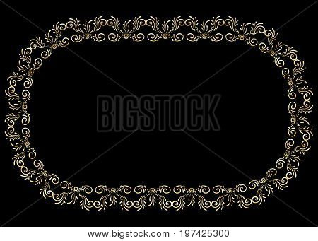 Frame gold vector  floral, decorative, light, style, rococo
