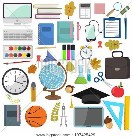 School and education items in the workplace. Vector illustration flat illustration of school supplies. Isolated schools working education accessories on white background. Infographic elements for web, presentations.