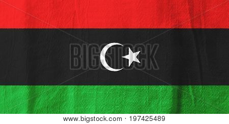 Libya Fabric Flag  National Flag From Fabric For Graphic Design.