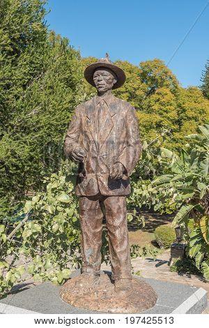 WINDHOEK NAMIBIA - JUNE 17 2017: Statue of Captain Hendrik Samuel Witbooi at the Tintenpalast (German for