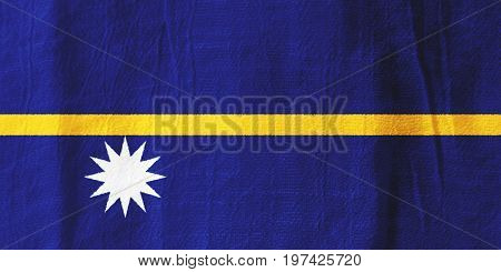 Nauru Fabric Flag  National Flag From Fabric For Graphic Design.