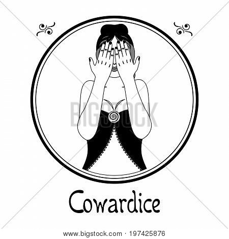 Illustration with a woman on the theme of cowardice.
