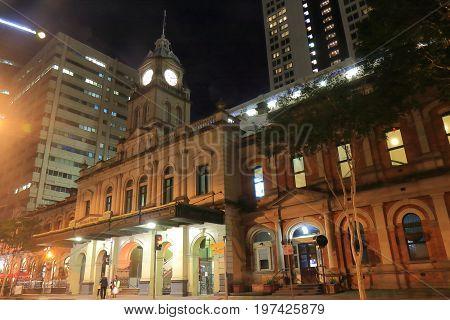 Central train station night scape Brisbane Australia