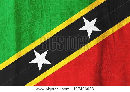 Saint Kitts And Nevis Fabric Flag  National Flag From Fabric For Graphic Design.