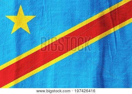 The Democratic Republic Of The Congo Fabric Flag  National Flag From Fabric For Graphic Design.