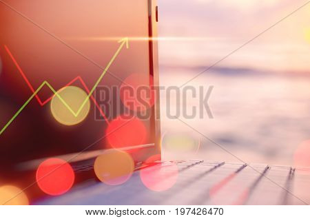 Business Economic Technology Working Concept. Keyboard Notebook On Tropical Sunset Beach Double Expo