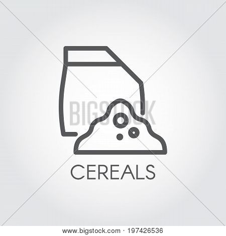 Linear icon of bag with abstract cereals ingredient. Culinary theme. Vector outline logo on a gray background