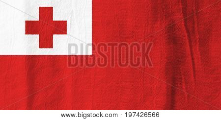 Tonga Fabric Flag  National Flag From Fabric For Graphic Design.