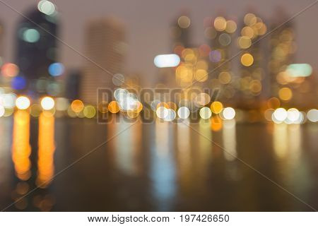 Blurred bokeh light reflection office building abstract background