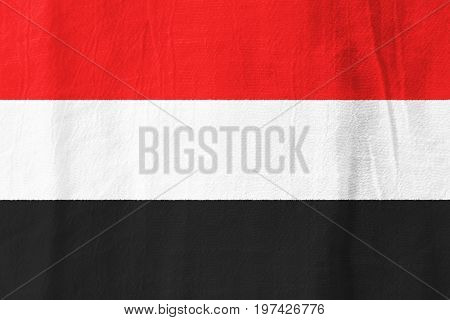 Yemen Fabric Flag  National Flag From Fabric For Graphic Design.