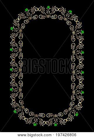 Frame gold gem, diamond vector decorative, light, style, rococo, isolated, bright, ornament, classic, royal,