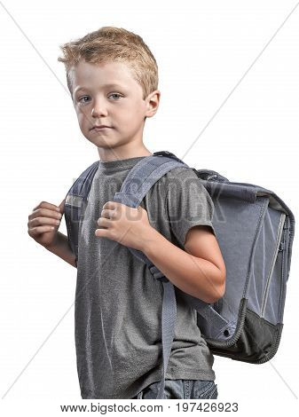 Back to school concept young boy with back bag isolated on white