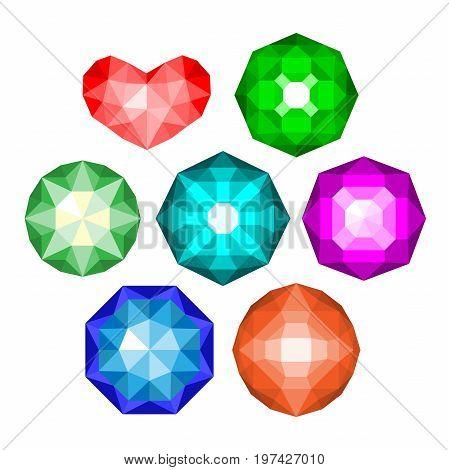 Gems isolated on white background. jewels or precious diamonds gem set.