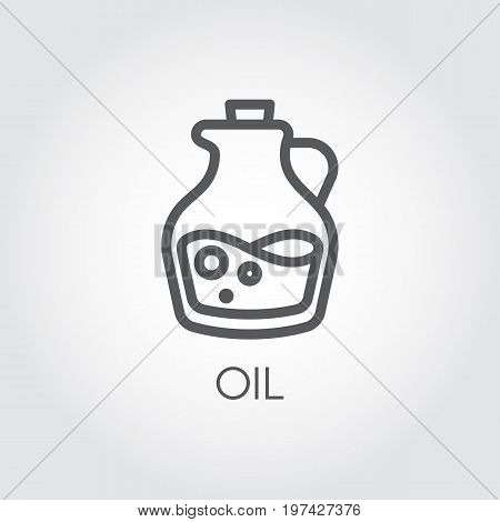 Jug with oil icon. Food symbol in thin line style. Culinary concept. Vector outline illustration on a gray background