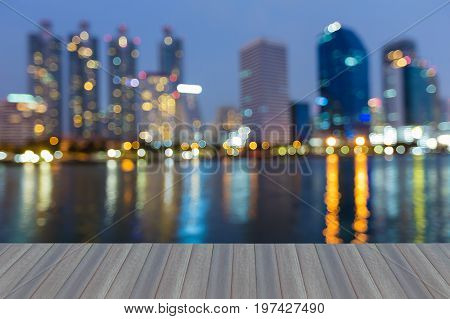 Opening wooden floor Office building night twilight blurred bokeh light abstract background