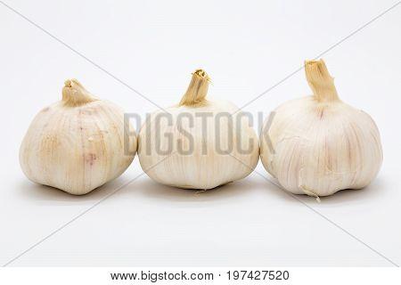 Fresh rood garlic on white background Isolated