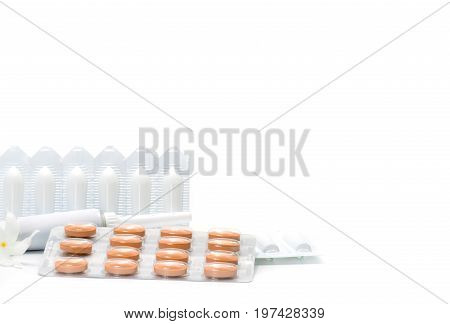 Medicine for treatment hemorrhoids rectal suppositories rectal ointment tablets isolated on white background