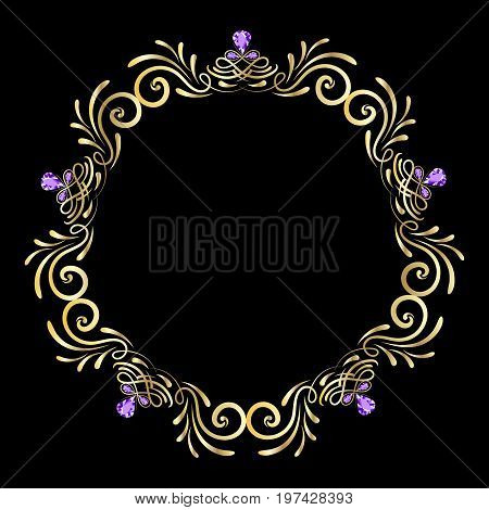 Frame gold gem, diamond vector light, style, rococo, isolated, bright, ornament, classic, royal, celebration, glitter, glow, round, gift, sparkle, curl, islamic, diploma