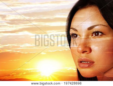 woman's face on a sunset close up
